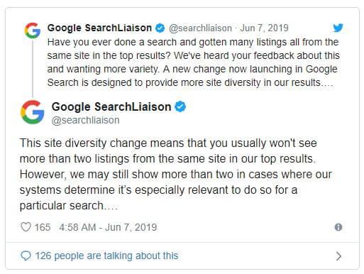 google diversity 搜尋引擎算法更新