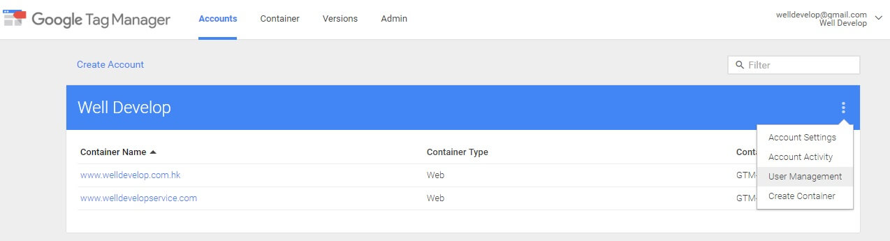 Google Tag Manager create container