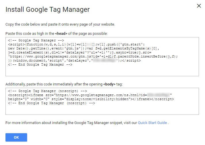 Google Tag Manager Install Container