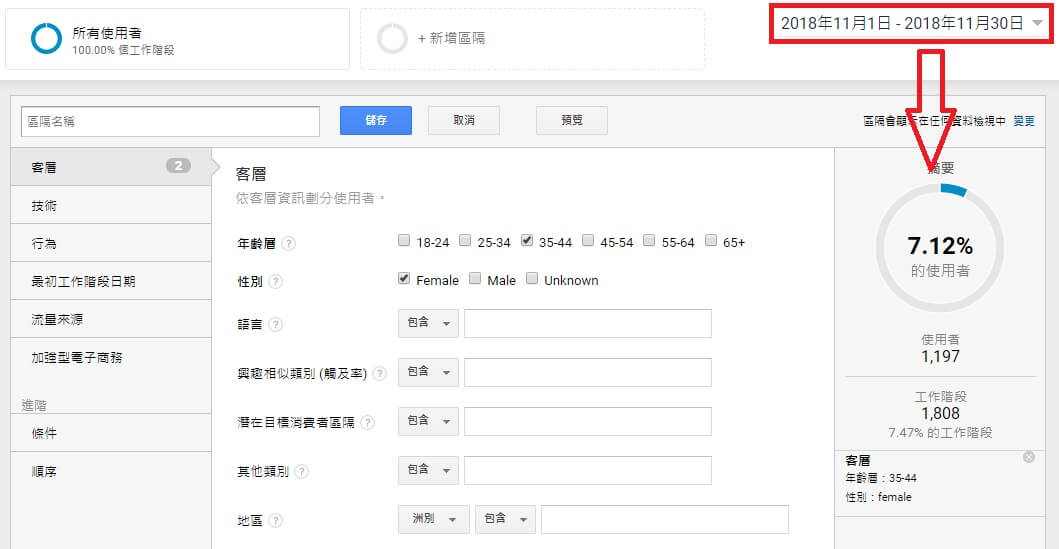 Google Analytics 受眾區隔